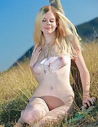 Nude slender blonde